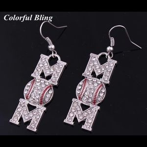 Beautiful Mom Baseball Earrings